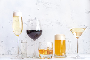 Assortment of alcoholic drinks