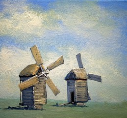 Fine art. Oil paintings rural landscape, old village, old wooden windmill