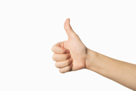 like gesture on white background. thumb up
