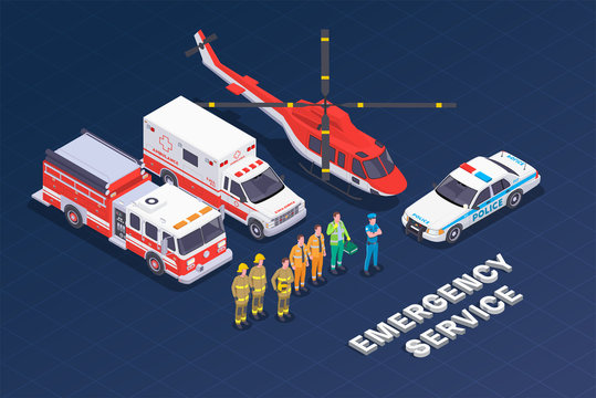 Emergency Services Isometric Composition