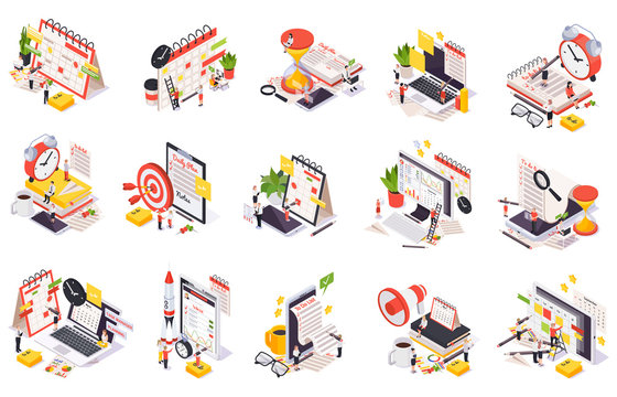 Colored Time Management Planning Schedule Isometric Icon Set