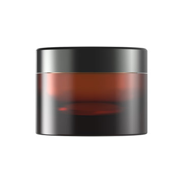 Brown Glass Cosmetic Jar for Cream or Gel Packaging. 3D Mockup Isolated on White Background.