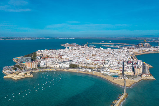 Panoramic aerial view of the city of Cadiz and the Castle of San Sebastian. Spain