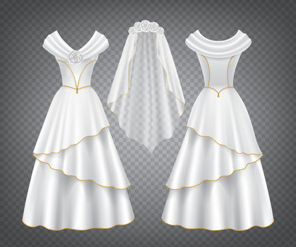White wedding woman dress with tulle veil decorated by flowers and golden stitching. Vector elegant bridal silk gown with long skirt in front and back view isolated on transparent background