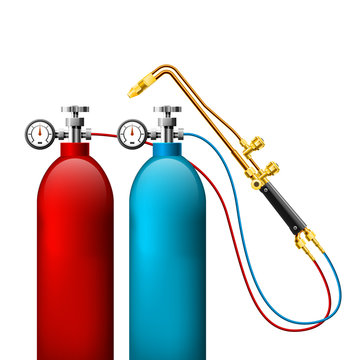 Welding gas bottles and oxy acetylene cutting torch - gas tank and burner, welding gear