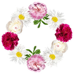 Wall Mural - Beautiful floral circle of chamomile and peonies. Isolated