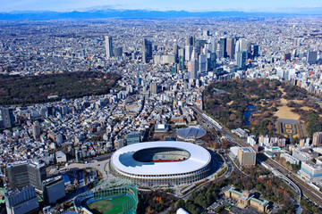 Poster Tokyo 新国立競技場と新宿副都心/Aerial view.2019撮影
