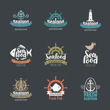 Set of vector logos for fish restaurant or shop. Collection of badges, stickers, icons, labels, emblems and design elements on the theme of seafood in retro style. Food design concept.