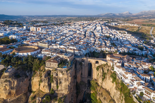Aerial view of the New Bridge and the city of Ronda. Spain