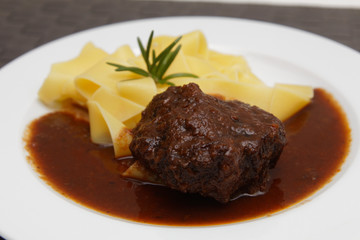 Ox cheeks with noodles
