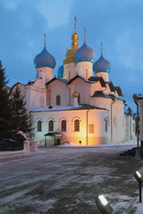 Annunciation Cathedral in winter evening. Kazan, Russia