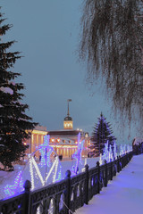 Scheinkman Street and gun yard on January evening. Kazan, Russia