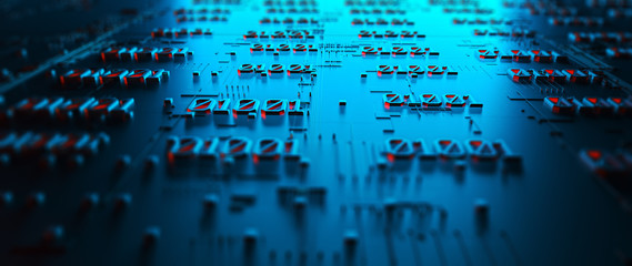Wall Mural - Abstraction illustration binary code strings are processed by the computer's motherboard. Background from lines of binary code. Background with depth of field and bokeh. 3d rendering