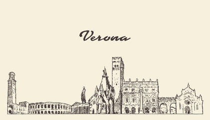 Wall Mural - Verona skyline, Italy, hand drawn vector sketch