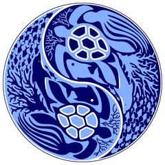 Yin Yang Marine Life Sign Classic Blue Monochrome Vector illustration