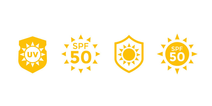 sun block, protect from uv radiation and SPF 50 vector icons
