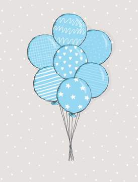 Cute Hand Drawn Blue Balloons Vector Illustration. Round Shape Blue Balloon with White Hearts, Dots, Stars, Stripes and Tiny Grid Print. Flying Air Balloon Isolated on a Light Gray Background.