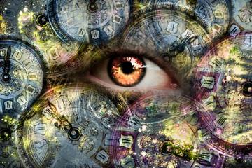 Eye looking through the clock Fototapete