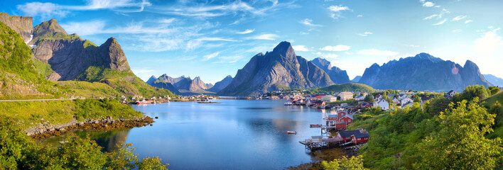Poster Blauw Panoramic view of Reine fishing village, Lofoten, Norway