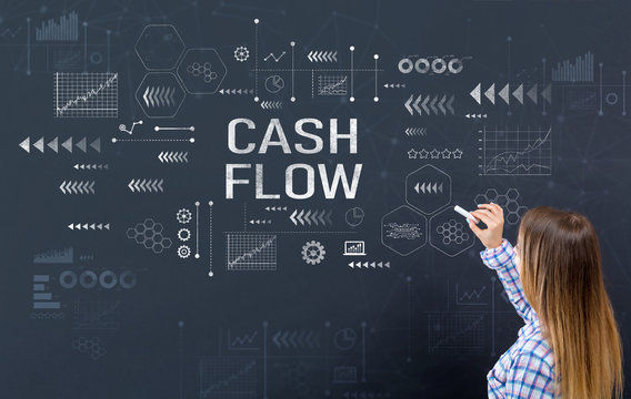 Cash flow with young woman writing on a blackboard