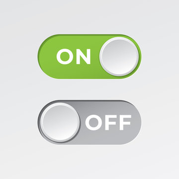 On and Off Toggle Switch Buttons with Lettering Modern Devices User Interface Mockup or Template - Green and Grey on White Background - Gradient Graphic Design