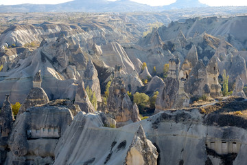 Poster Grijs Landscape with cave houses and fairy chimneys in Cappadocia Turkey