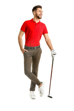 Handsome male golfer on white background
