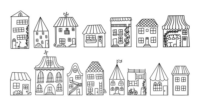 Black and white doodle style houses. Set of cute houses drawn by hand.Contour drawing of the houses of a small town.