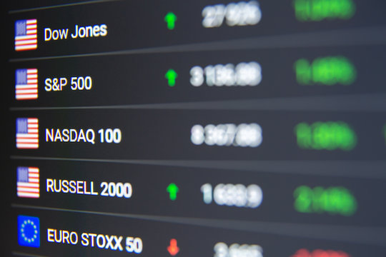macro shot of computer monitor with world stock market chart in trading application. Dow Jones, S&P 500, Nasdaq 100, Russell 2000, Euro Stoxx 50 indexes