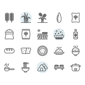 Rice icon and symbol set in outline design