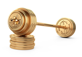 Barbell on a piles coins. Big business concept. Earnings in sports competitions.