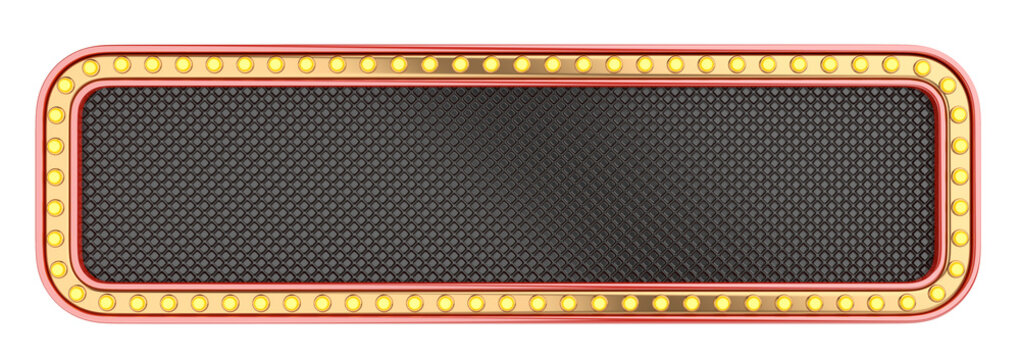 Black and golden casino banner - design template, with lightbulbs around. Front view.