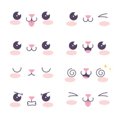 kawaii cartoon cat icons set