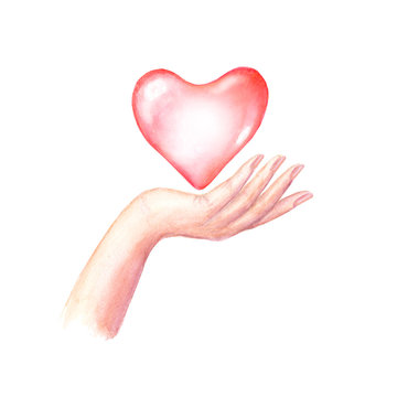 Watercolor woman's hand with red heart isolated on white background.