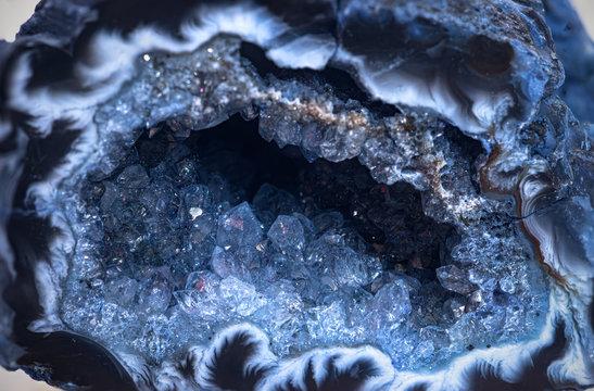 Blue quartz geode