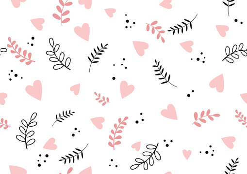Seamless romantic spring vibe pattern with hearts and leaves