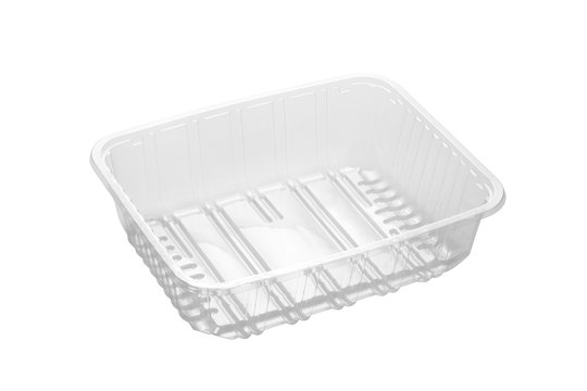 Transparent plastic food tray isolated on white background
