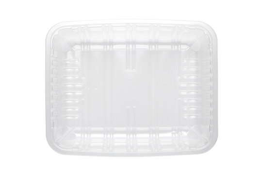 Top view of plastic food tray isolated on white background