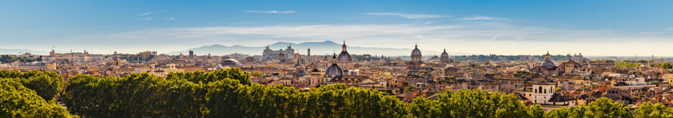 In de dag Oude gebouw Panorama of the ancient city of Rome, Italy from the Castel Sant'Angelo
