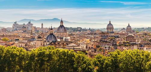 Panorama of the ancient city of Rome, Italy from the Castel Sant'Angelo Fotomurales