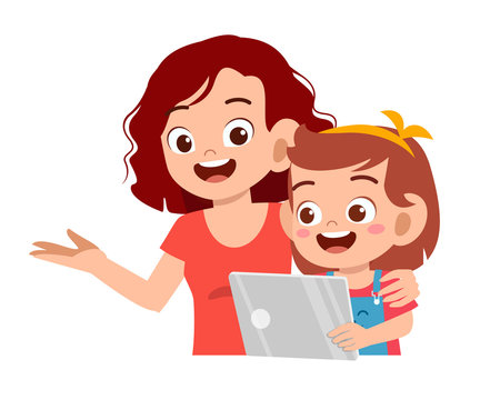 happy cute kid girl play tablet with mom