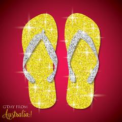 Shiny iridescent glitter Australian Thongs (Flip Flops) in vector format.