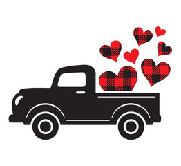 Vector illustration of a vintage truck carrying valentine heart. Plaid buffalo pattern hearts.