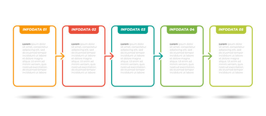 Business Infographic label design time line process with 5 step, option. Vector template. Can be used for workflow layout, diagram, info chart, graph. Fotomurales