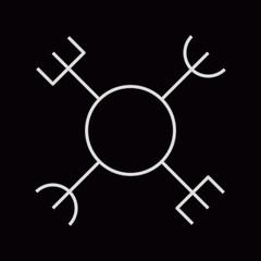 Aegishjalmur, small helm of awe (helm of terror). Icelandic magical staves. Monochrome vector illustration.