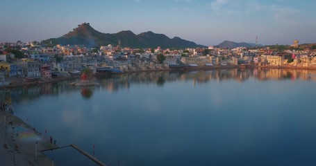 Fotomurales - View of famous indian hinduism pilgrimage town sacred holy hindu religious city Pushkar with Pushkar ghats. Rajasthan, India