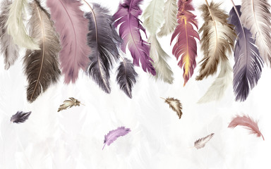 3d illustration, white background, multi-colored feathers of different sizes