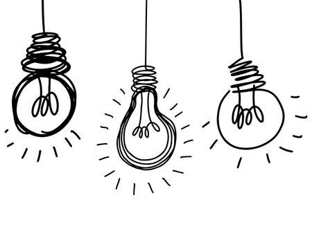 doodle Light bulb idea , hand drawn , icon cartoon isolated on white background.
