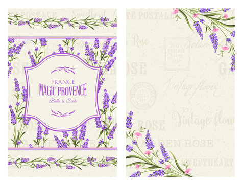 Lavender frame for invitation and other printing or web projects. The provence greeting card with frame of flowers and text place. Label with lavender flowers. Vector illustration.