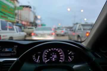 Fotomurales - drive vehicle car automobile on traffic jam urban road